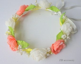 Wedding Crown Wreath flowers roses, Handmade bridesmaids flower girls adjustable head accessories Coral red lime green ivory hair boho UK EU