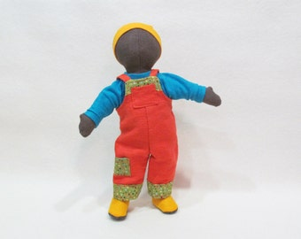 """Doll outfit for 11"""" Dolly Mama Eugene soft cloth doll includes overalls, shirt, underwear, knit cap and wool felt shoes"""
