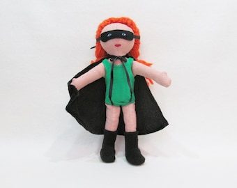 Super hero doll, red headed doll, ooak dress up doll, modern stuffed toy, art doll, functional art doll, hipster doll, collector doll