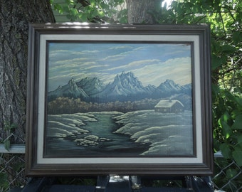 Hermansen Oil on Wood Painting Log Cabin River Snow Mountains Landscape Framed Vintage