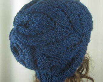 Hand Knit Merino Wool Blend Cable Slouch Hat - Navy Blue - Winter Accessories - Winter  Fashion