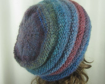 Hand Knit Blue Violet Beanie - Soft Hat - Womens Warm Winter Hat in Teal and Plum - Winter Accessories - Winter Fashion