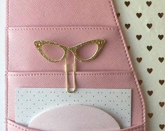 Cat eye glasses papet clip bookmark