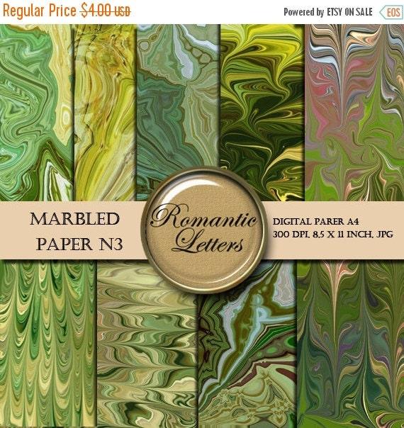 SALE Marbled digital paper pack digital scrapbooking green paper  origami  jewelry making paper