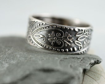 Sterling Band Ring - Paisley Embossed Pattern - Your Size