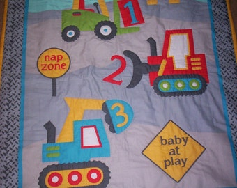 Hand Quilted Construction Site Baby Boy Quilt