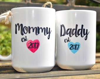 New MOMMY or DADDY Mugs, Est. Year, Cute Pregnancy Announcement or Shower Gift