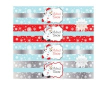 Snowman Water Bottle Label-Melted Snow Water Labels-Drink Wrappers-INSTANT DOWNLOAD