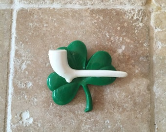 Vintage 1940's Shamrock Brooch 40's Celluloid Green and White Brooch