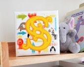 New baby gift - Initial art - Box canvas art - Children's room art - Circus style font initial - Felt art - Gift for children's room