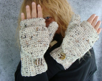 Convertible Mittens, Aran Fleck Texting Mittens, Crochet Womens Flip Top Mittens, Fingerless Mittens, Cycling Mittens, Womens Mittens