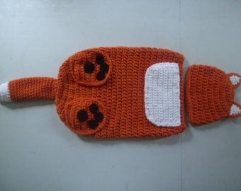 Fox Hat & Cocoon Snuggle Sack Set for Baby 0-3 Month Size Handmade Crochet - Photo Prop