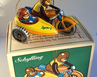 Motorcycle and Sidecar Vintage Lithographed Tin Toy Ornament by Schylling 1995 NIB Motorcycle Christmas Ornament