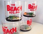 Vintage kitsch plastic barware beach theme from The Beach radio station by Howw