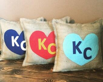 """KC Love-13"""" x 13"""" Burlap Pillow-Create Your Own Color Combo-24 Colors Avail.-Royals/Chiefs/Kansas City/Missouri/Kansas"""