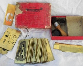 Vintage 3 inch ~ Wards ~ ABC's and NUMBERS ~ Stencil Set ~ Brass Interlocking ~ Brush & Dry Ink ~ HTF ~ Sign Making ~ Letter / Letters
