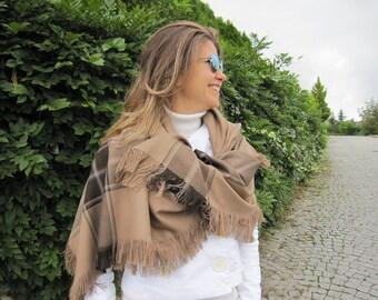 Camel tan beige -Tartan plaid blanket shawl scarf- Turkish women's wrap shawl,oversize,large,square,men's shawl -winter gift scarves2012