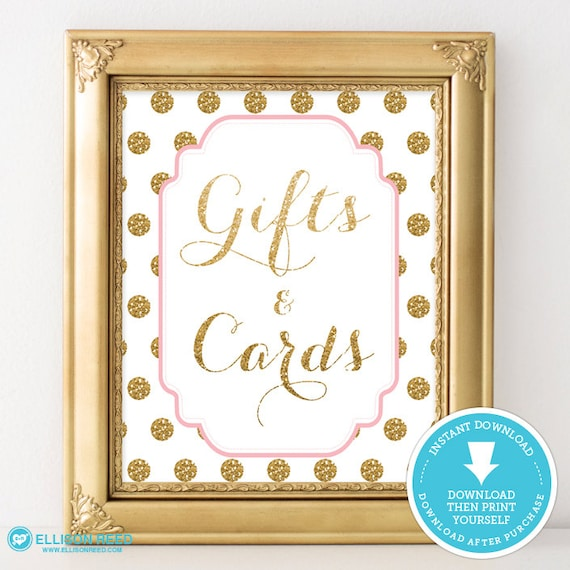 Baby Gift Gold : Pink and gold baby shower gift cards table sign polka
