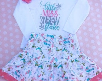 Toddler Winter outfit, Girl Winter Outfit, Little Miss Snowflake outfit, Toddler Holiday outfit, Girl Holiday outfit, Snowflake Outfit
