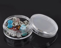 1pc Round Plastic Bead Storage Container - 50mm - Display, Organization, Ships from USA, Jewelry Finding, Jewelry Supplies, Crafting - O40