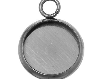 5pc Stainless Steel Silver Tone Round Cabochon Settings- Fits 10mm - 16x12mm- Jewelry Finding Making Supplies, Necklace, Ships from USA -S58