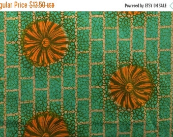 20% SALE Tribal African Fabric Ethnic Fabric from Ivory Coast West African Fabric Orange and Green Sturdy Cotton Fabric - 1 7/8 Yard Plus -