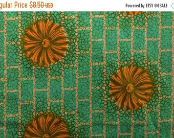 20% SALE Tribal African Fabric Ethnic Fabric from Ivory Coast West African Fabric Orange and Green Sturdy Cotton Fabric - 1 1/8 Yard Plus -