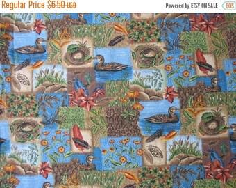 40% OFF Wildlife Cotton Quilt Fabric Duck Pond Cattails Floral Cotton Fabric Blue Brown Green Orange - 1 Yard - CFL0370
