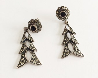 Sterling Marcasite & Onyx Earrings, Vintage Sterling Earrings, Long Silver Danglers