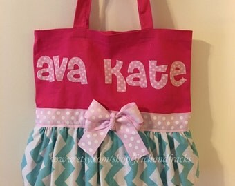 Pink and Blue Dance Bag, Tutu Bag, Ballet Bag, Dance Bag, Gymnastics Bag, Chevron Dance Bag, Toddler Dance Bag, Tutu Dance Bag