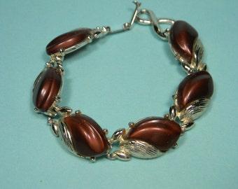 Brown Lucite Bracelet, Silver Tone