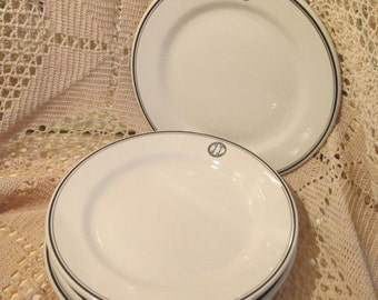 Lot of 4 Vintage Sterling China Restaurant Ware Country Club Dinner Plates, CCC, 1972