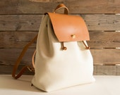 Real leather BACKPACK, cream and tan, italian leather, handmade, high quality, made in Italy