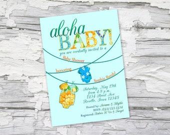 Aloha Baby! Tropical Hawaiian Luau Baby Shower Invite