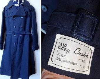 42R NEW Vintage Deadstock OLEG CASSINI Mens Trench Raincoat Navy Large L