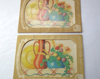 Meyercord Decal Dishes Kitchen Fiesta Ware Style 1940s Red Blue Yellow Pair in Envelope