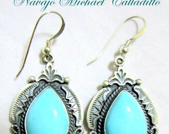 """Pristine Turquoise/925 Earrings by  Navajo""""Michael & Rose  Calladitto"""""""