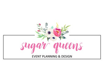 Pre-Made Logo Photo Overlay Watercolor Floral  Photography Florist Bakery Business Hand Painted