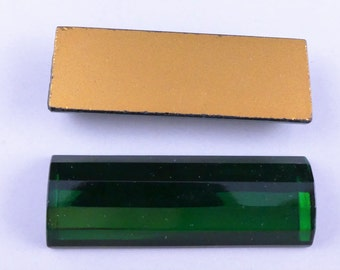 Vintage large emerald green faceted log glass cabochon - 8 x 16 x 45 mm. 2 pcs.