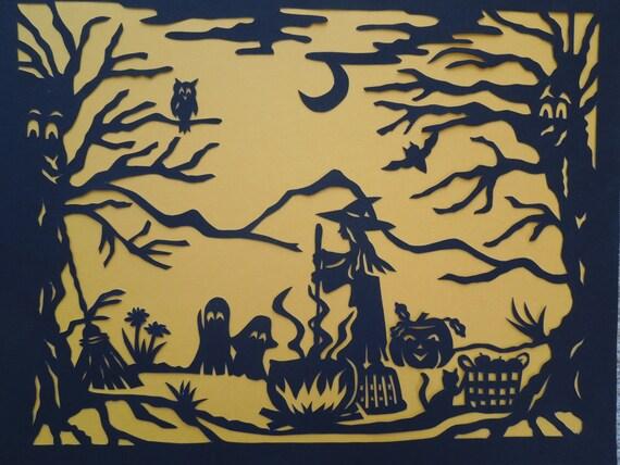 Halloween Witch, Cauldron, Cat, Papercut Art
