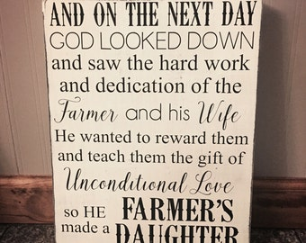 God made a farmer's daughter sign - farmer's daughter sign