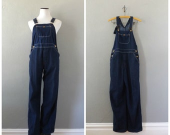 denim bib overalls | vintage 80s cotton dark blue jean coveralls size s/small 28 waist boho hippie pant jumpsuit 1980s dress tops romper