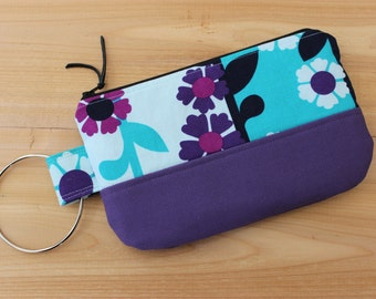 Floral Wristlet Turquoise Purple Canvas Clutch