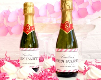 Personalised Hen Party Striped Bottle Labels