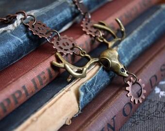 Steampunk Deer Antlers Necklace, Steampunk Necklace, Unisex Jewelry, Goth Jewelry, Steampunk Jewelry, Gear Jewelry, Mens Jewelry, Bones