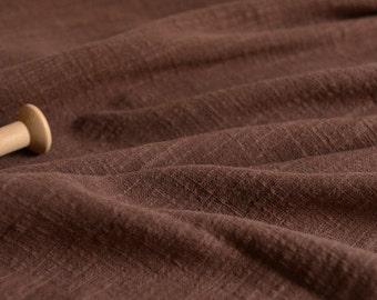 Soft Linen Cotton Gauze Fabric Chocolate MJ1762