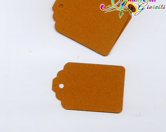 50 pz Tag per bomboniere, etichette, display jewelry, tag, punch, auguri, matrimonio, battesimo, cresima, cerimonia, kraft, marrone