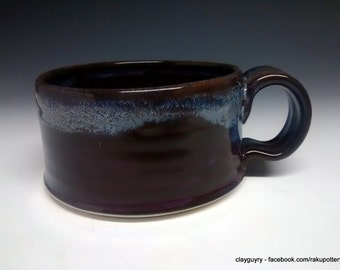 Ceramic Soup Cup - Handmade Pottery - Maroon Stoneware