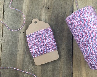 10 yards Blue, Red and White Postman Style Divine Twine Baker's Twine