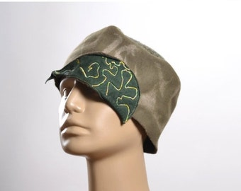 ON SALE Upcycled Wool Hat - Women's Hat - Fall Hat - Green Hat - Recycled Hat